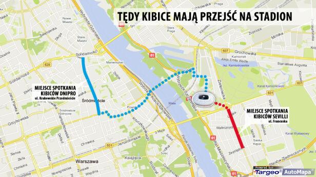 Kibice mają przejść na stadion pieszo tvnwarszawa.pl