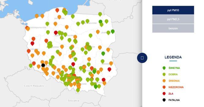 Stężenie pyłu PM10 w środę o godzinie 20 (tvnmeteo.pl za GIOŚ)
