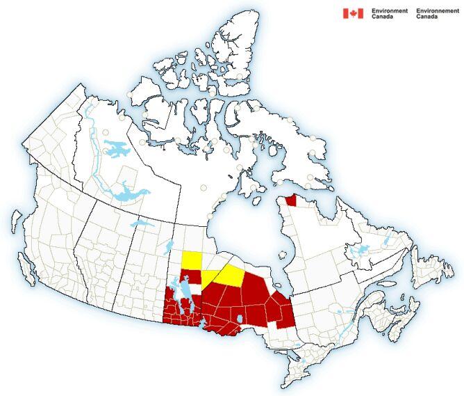 Ostrzeżenia meteorologiczne dla Kanady